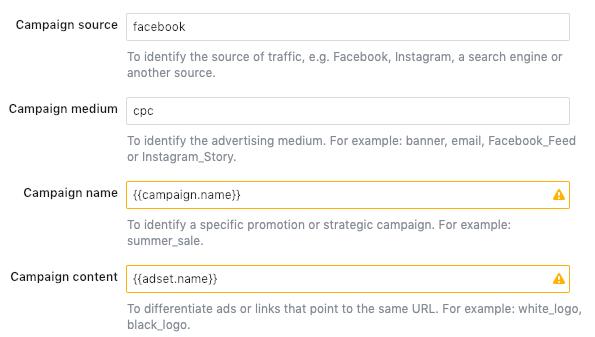 динамические параметры url facebook