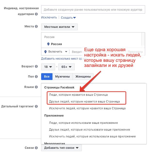 таргетирование на лайкеров фейсбук