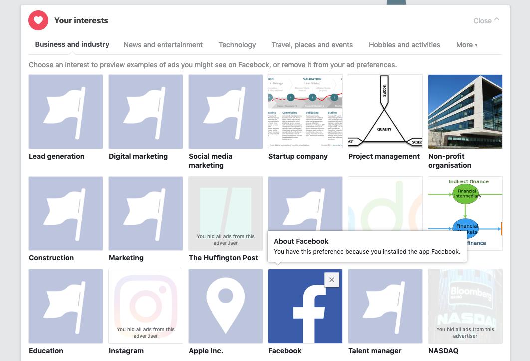 настройки рекламы пользователя в фейсбук инстаграм