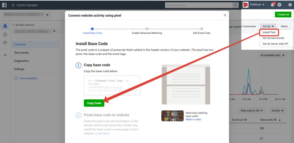 где находится код пикселя фейсбук в рекламном аккаунте